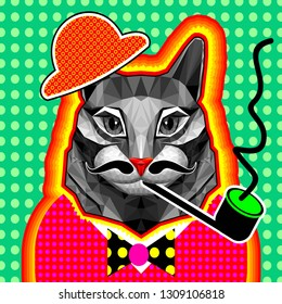Modern art collage. Big grey cat Smoking a pipe. The head is attached to the body. Finished moustache and hat. Design in pop art style. Zine culture. low poly design. Kitsch. Bright flashy colors. rid