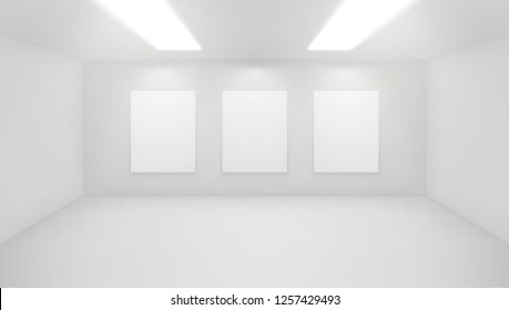 Modern art gallery interior. Vector architectural illustratrion of museum hall. Exposition space with minimal white walls. Exhibition studio mockup. Realistic indoor space