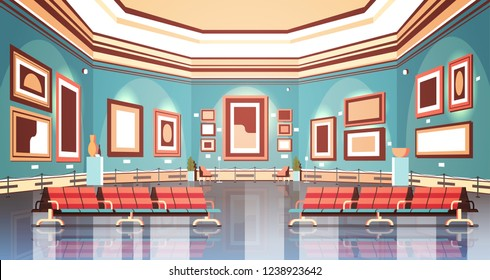 modern art gallery in museum interior creative contemporary paintings artworks or exhibits flat horizontal