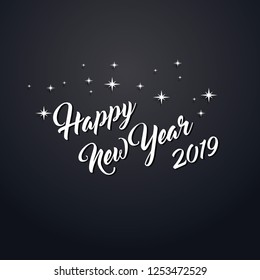 Modern Art graphics. Happy New Year 2019 design elements for design of gift cards, brochures, flyers, leaflets, posters. Vector illustration EPS10