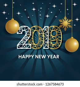 Modern Art graphics. Happy New Year 2019 design elements for design of gift cards, brochures, flyers, leaflets, posters. Vector illustration EPS10 - Vector