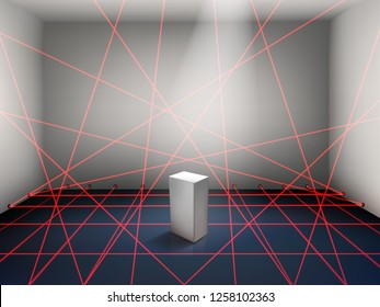 Modern art museum, bank repository motion sensitive, security alarm, high safety system realistic vector concept with empty pedestal in exposition room or safe, surrounded red laser rays illustration