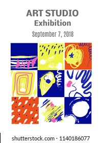 Modern art paintings exhibition invitation - design with pictures and text layout. Vector graphic illustration