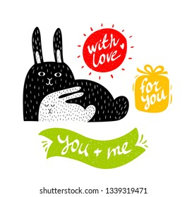 Modern art poster print with cute animals and colorful banners with message. Vector illustration of mother rabbit and her baby. Isolated on white background. Best for wall prints in children rooms.