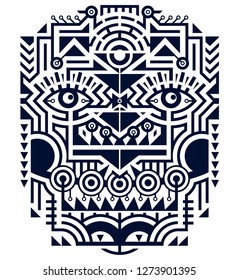 Modern Art Vector Illustration - Mask in Techno Tribal Style. Mix of monochrome Stripes and Shapes