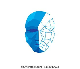 Modern Artificial Intelligence Human Face Technology Logo Illustration In Isolated White Background