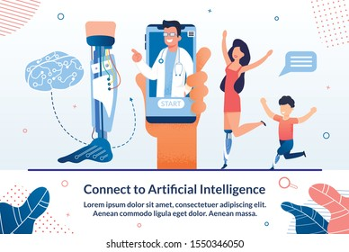 Modern Artificial Intelligence Technologies in Medicine Trendy Flat Vector Advertising Banner, Promo Poster. Disabled Woman and Boy Happy Because Their New Ai Robotized Leg Prosthesis Illustration