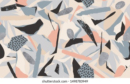 Modern artistic illustration pattern. Creative collage with shapes. Seamless pattern. Fashionable template for design.