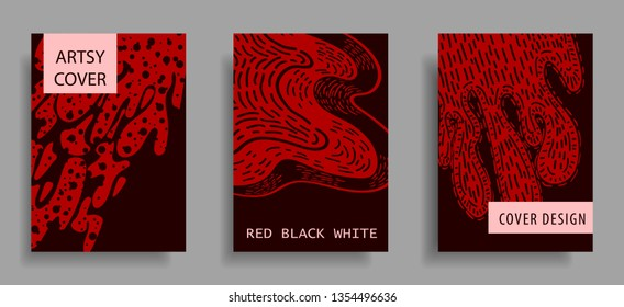 modern artsy cover design template with red, black, and white color