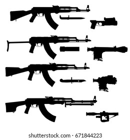 Modern assault rifles set, eastern family, accsesories.