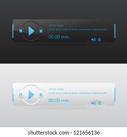 Modern audio player in dark and white colors