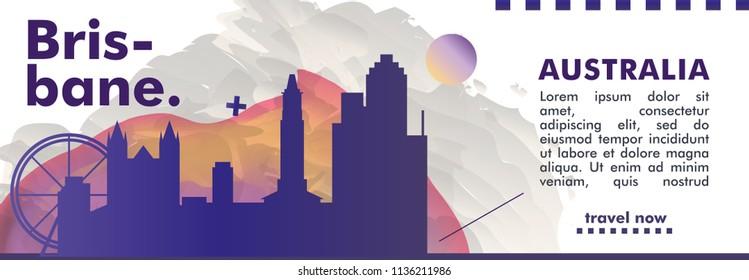 Modern Australia Brisbane skyline abstract gradient poster art. Travel guide cover city vector illustration
