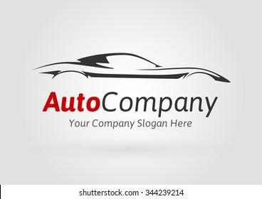 Modern Auto Company Logo Design Concept with Sports Car Silhouette. Vector illustration.