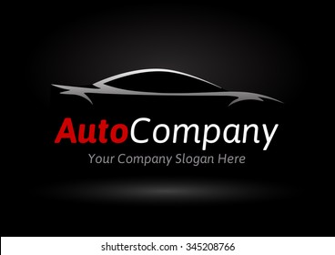 Modern Auto Company Logo Design Concept with Sports Car Silhouette on black background. Vector illustration.