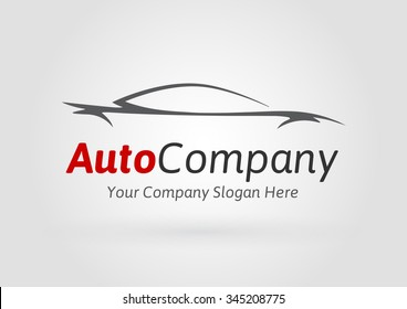 Modern Auto Company Logo Design Concept with Sports Car Silhouette. Vector illustration.