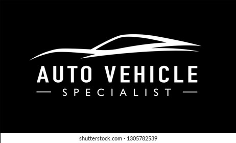 Modern auto sports car logo template design. Concept supercar vehicle line icon silhouette on black background. Vector illustration.