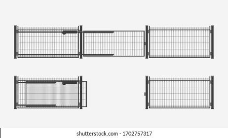 modern automatic metal gates set