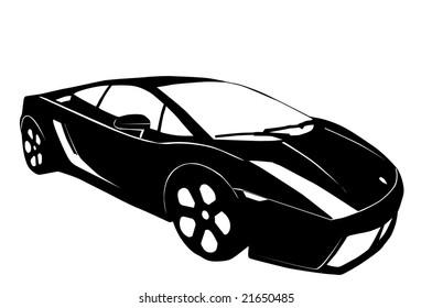 Vector Illustration Blue Lamborghini Car Separate Stock Vector
