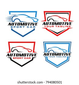Modern Automotive with Car Silhouette Logo Vector Set