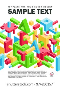 Modern Background for Business Magazine or Brochure. Cover Book Template. Mix of Colorful Geometric Shapes. Vector Illustration for Cover Design