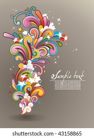 Modern background with colored contemporary abstract floral ornament and free space for your text