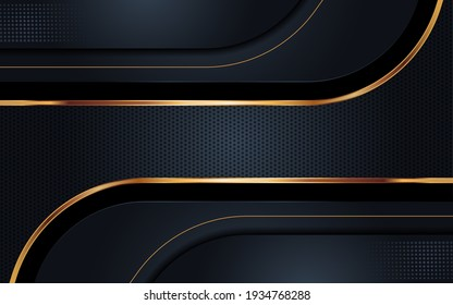 Modern Background with Dark Navy Color and Golden Lines Combination. Abstract Tech Futuristic Background Design.