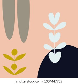 Modern background with flowers and abstract elements. Scandinavian style artboard. Vector illustration