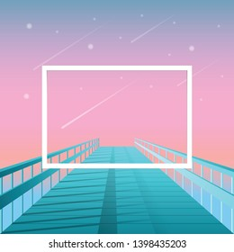 Modern background with frame at the end of pier - poster template with cool gradient and text space