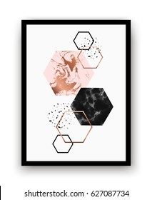 Modern background with marble, copper hexagons and geometric elements.