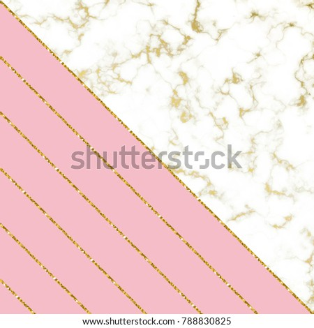 eb196507327f Modern background with white marble texture and pink and gold glitter  lines. Template for holiday