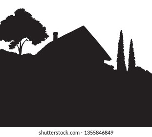 Modern backyard scenic view with new build farmstead abode edifice design. Dark ink hand drawn picture logotype emblem in art retro print style with space for text on light sky backdrop