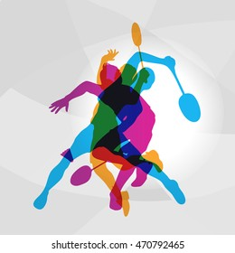 Modern Badminton Players In Action Logo