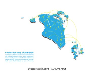 Modern of bahrain Map connections network design, Best Internet Concept of bahrain map business from concepts series, map point and line composition. Infographic map. Vector Illustration.