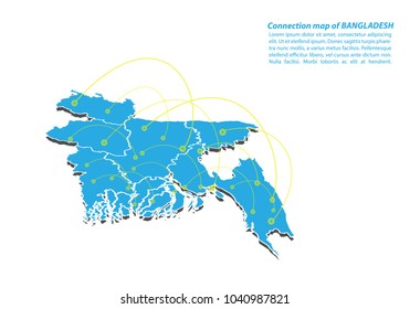 Modern of bangladesh Map connections network design, Best Internet Concept of bangladesh map business from concepts series, map point and line composition. Infographic map. Vector Illustration.