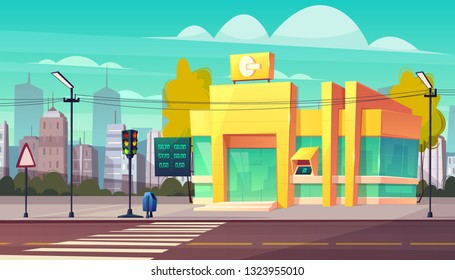 Modern bank branch with currency exchange rates digital indicator and ATM cash machine on entrance cartoon vector. Business real estate object, financial institute building on city street illustration