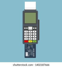 Modern Bank or credit Card Reader with top view and large screen. Flat color style vector illustration.