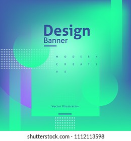 modern bannaer design with geometric shapes and gradients of blue and green color