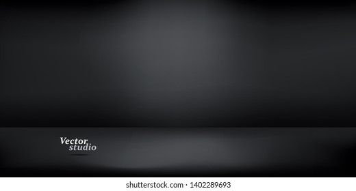 Modern banner with black empty studio on black background for concept design. Banner illustration vector. Abstract business template on soft dark background.