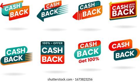 Modern banner design with a set of Cashback tags. Illustration of money back for promotion, sales, discounts. Isolated colorful sticker, cash back emblem.