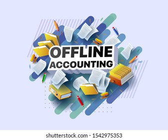 Modern banner of offline accounting. Vector illustration of a business poster with different 3d isometric items of offline accounting. Paper clips. Folders. Pencils. Stapler. Documents