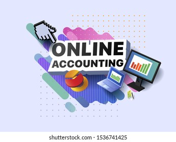 Modern banner of online accounting. Vector illustration of a business poster with different 3d isometric items of online accounting. Monitor. Laptop, Bank card, Diagram, Graph, and Chart presentation.