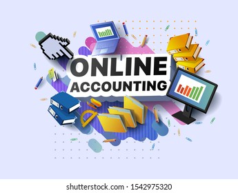 Modern banner of online accounting. Vector illustration of a business poster with different 3d isometric items of online accounting. Paper clips. Folders. Pencils. Stapler. Monitor. Laptop. Protractor