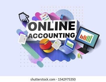 Modern banner of online accounting. Vector illustration of a business poster with different 3d isometric items of online accounting. Monitor. Laptop. Documents. Marker. Bank card. Diagram. Graph