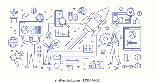 Modern banner template with computer, diagrams, charts, flying spacecraft and group of people working under innovative startup business project launch. Monochrome vector illustration in linear style.