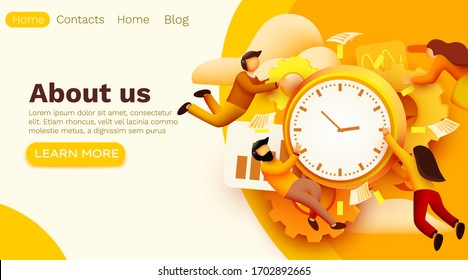 Modern banner template with tiny people and work time. User Interface Development Concept. Little people build a professional organization. Site template. Vector illustration