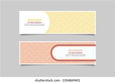 Modern banner template vector with ethnic pattern motifs. Eps10
