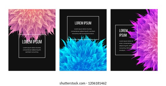 Modern banners design. 3d mesh mandala illustration. Cool gradient colors. Flower illustration. For design covers, presentation, invitation, flyers, annual reports, posters and business cards