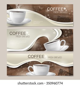modern banners set template design with coffee elements