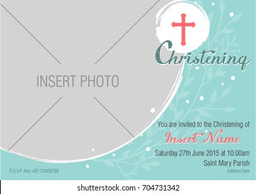 Modern baptismal Invitation Layout. Simple and sophisticated design template. Christening invitation.