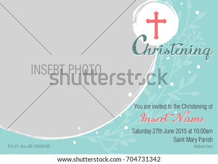 Modern Baptismal Invitation Layout Simple Sophisticated Stock Vector